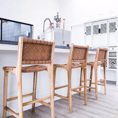 Furniture Tan Leather Weave Bar Stool (with back) Kitchen Stools With Back, Counter Stools With Backs, Stools For Kitchen Island, Woven Bar Stools, Leather Counter Stools, Outdoor Bar Stools, Outdoor Dining, Home Design, Design Design