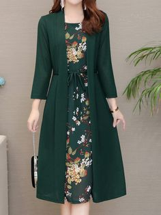 Boat Neck Fake Two-Piece Printed Shift Dress Shoulder Length, Shoulder Sleeve, Print Shift, Two Pieces, Boat Neck, Dresses Online, Fashion News, Cute Outfits, Shirt Dress