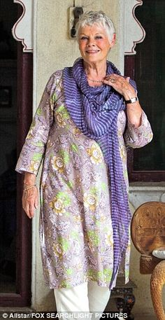 Judi Dench, pant under long top, with scarf, I just love her style .