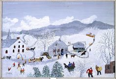 by grandma moses. Bennington Vermont, Weather Art, Grandma Moses, Currier And Ives, Pure Joy, Country Art, Naive Art, Winter Scenes, Rug Hooking