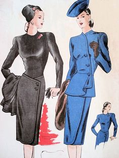 Vintage sewing patterns --- When I get a huge walk-in closet/dressing room in my next house, I will decorate the walls with vintage prints like this.