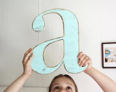 nursery decor baby wall letter decoration shabby by OldNewAgain, $32.00