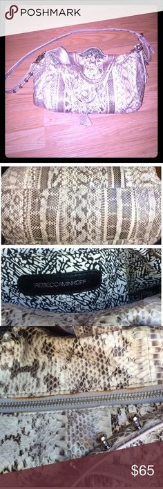 Rebecca Minkoff Beige Ascher Snakeskin Duffle I bought this from another posher & it's a beautiful bag, just not my style. Authentic Rebecca Minkoff snakeskin purse with silver hardware & adjustable/removable crossbody strap. Minor stain near the zipper (pictured) but it's not very noticeable. Rebecca Minkoff Bags Crossbody Bags