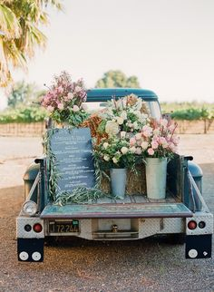 Use the bed of an old truck to display your reception menu!