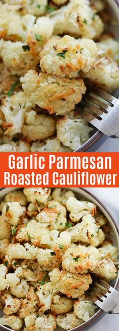 Garlic Parmesan Roasted Cauliflower - cauliflower florets roasted in the oven with garlic and Parmesan cheese. This side dish is healthy, delicious and even the pickiest eater loves this | rasamalaysia.com