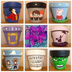 it back to some of my favourite Film/TV themed flowerpots!, Throwing it back to some of my favourite Film/TV themed flowerpots!, Throwing it back to some of my favourite Film/TV themed flowerpots! Flower Pot Art, Flower Pot Design, Flower Pot Crafts, Clay Pot Crafts, Crafts To Make, Painted Plant Pots, Painted Flower Pots, Plastic Fou, Disney Garden