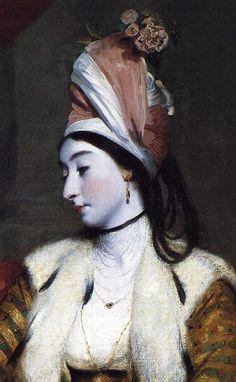 Portrait of Jane Maltass (Mrs. Baldwin) (detail) by Sir Joshua Reynolds, 1782. In Ottoman attire for a masquerade...?