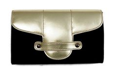 Torulabags Bond Street Black Cloth and Leather Clutch