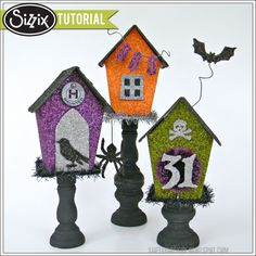 Sizzix Die Cutting Tutorial | Glittery Halloween Houses by Shelly Hickox