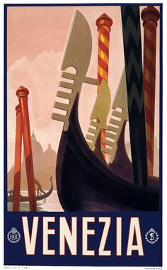 Decorative gondolas on the canals of Venice in this Italian travel poster, c. 1920. Roma, Novissima.