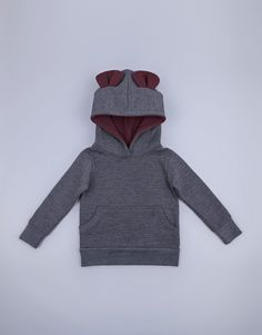 Bear ear hoodie pullover sweater top for boys and girls in melange colour Bear Ears, Red Fabric, Kids Clothing, 6 Years, Boys, Girls, Pullover Sweaters, Boy Or Girl, Kids Outfits