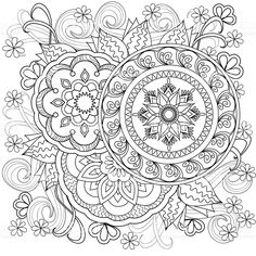 Hand drawn decorated image with flowers and mandalas. image for adults coloring page. Mandala Art, Mandalas Painting, Mandalas Drawing, Mandala Pattern, Zentangle Patterns, Zentangles, Pattern Coloring Pages, Adult Coloring Book Pages, Printable Adult Coloring Pages