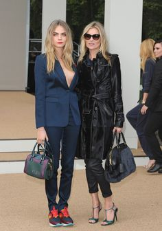 Kate Moss and Cara Delevigne in London. #poshpoint #LFW #streetstyle #katemoss #caradelevigne #burberry #SS15 #model #fashion