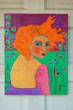 The Secret Garden by Artist Dana Bloede http://www.danabloede.etsy.com  love the green turquoise/neon orange/hot lavender w/permananent rose/cad red accents
