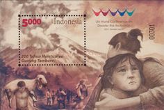 """2015 UN World Conference of Disaster Risk Reduction - Sendai. Japan. Commemorate the UN World Conference of Disaster Risk Reduction held in Sendai, Japan, on March 14 issued a souvenir sheet named """"Bicentenary of the great Tambora eruption"""" with nominal Rp 5000 and printed 30,000 copies by Perum Peruri. Mount Tambora is located on Sanggar Peninsula, Sumbawa Island, West Nusa Tenggara, erupted on 5 April 1815 and is among the most powerful eruption of volcanoes in the world."""