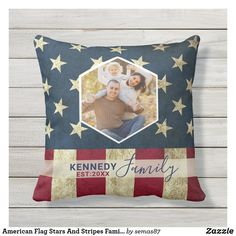 American Flag Stars And Stripes Family Name Photo Outdoor Pillow