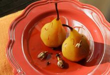 Peta Mathias: Pears poached in gin with saffron, honey and rose