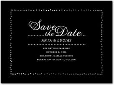 Diamond Sky - Signature Foil Save the Dates in Black or Smoke   Petite Alma