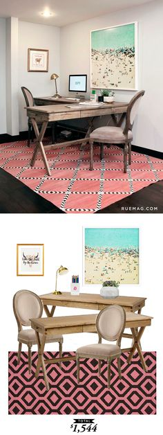 @9SPR's beachy keen office featured on @ruemagazine and recreated by @audreycdyer for $1,544 for Copy Cat Chic #RoomRedo