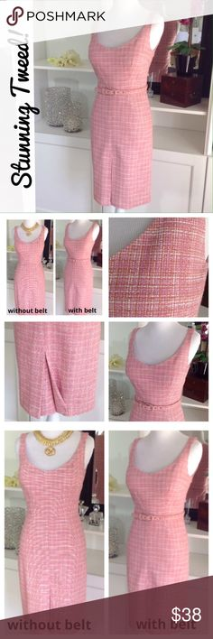 """Sweet, sophisticated & sexy pink tweed dress So sweet yet so sexy! Fully lined QUALITY tweed dress has threads in soft pinky-lavender, coral & white. Looks VERY upscale! Wear with or w/o belt or change to a cute white belt for a fun fresh look! Closed front pleat for added interest. Hidden back zipper. Couldn't capture the real beauty of this dress on pics, sorry! Great condition, never worn. 74%rayon/26%poly. Approx measurements laying flat: armpit to armpit:16""""waist:12 1/2""""/hips…"""