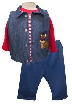 Chaleco de mezclilla bordado, playera manga larga y pantalón felpa. Tallas 3, 6, 12 y 18 meses.