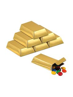 Gold Foil Favor Boxes (12 Pack) - Favor Bags & Boxes & other Party Favors from Birthday in a Box