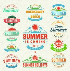 100 Vector Graphic Summer Logos, Badges and Labels