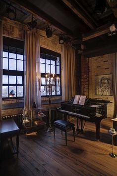 Dream music room... Captivating industrial style loft apartment in Moscow