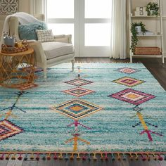 Bungalow Rose Wayne Moroccan Tribal Blue/Beige Area Rug Rug Size: Rectangle x Aqua Area Rug, Beige Area Rugs, Tribal Decor, Tribal Rug, Ethnic Decor, Decoration, Small Rugs, Colorful Rugs, Rug Size