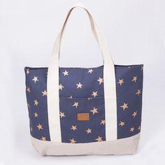 Tote bag Aluminé, azul estrella cobre y zócalo beige