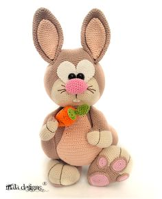 Voorjaarshazen Easter Crochet, Knit Or Crochet, Crochet For Kids, Crochet Dolls, Crochet Toys Patterns, Amigurumi Patterns, Stuffed Toys Patterns, Amigurumi Doll, Crochet Rabbit