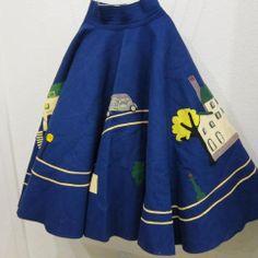 Vintage 1950s Novelty felt circle skirt. by LAVintageMercantile, $125.00