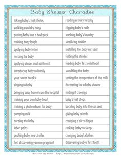 Great CHARADES Baby Shower Game In A Vintage By SunnysideCottageArt