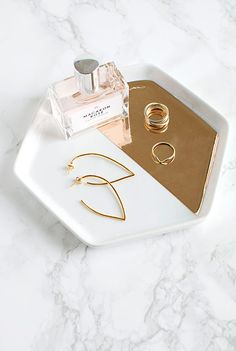 DIY Mirrored Gold Hexagon Tray | Homey Oh My