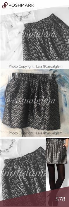 """Chevron Metallic Skirt A-Line silhouette Pleated accent Wedding / Party Style  Gray Chevron/Herringbone pattern and Metallic detail Measurements 16"""" Length Materials 100% Polyester Condition : New without tags! Skirts Mini"""