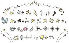 A collection of Twinkle and star elements. Kawaii Doodles, Cute Doodles, Line Drawing Tattoos, Pen Illustration, Drawing Journal, Pop Design, Graphic Design Projects, Cute Icons, Doodle Art