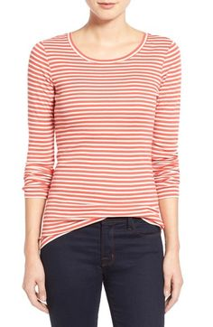 Caslon® Long Sleeve Scoop Neck Cotton Tee (Regular & Petite) available at #Nordstrom
