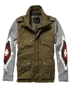 Army inspired jacket with ikat sleeves - Scotch & Soda