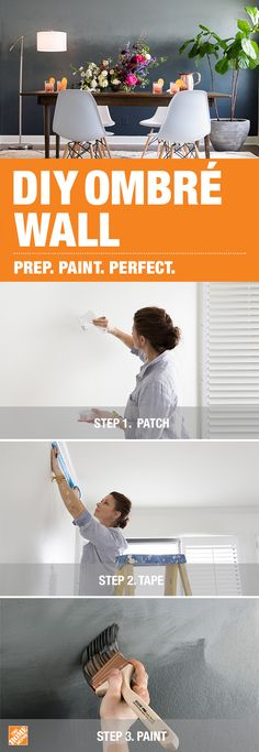 To create this ombré statement wall, prep the surface with a 3M Patch Repair Kit before rolling on a light-gray base coat in BEHR Moonquake. Next, apply 3M ScotchBlue Painter's Tape to create a medium-toned middle section, and a darker lower section using BEHR paint in Binary Star and Midnight Blue. Finally, blend the three colors with Wooster Pro brushes for a seamless gradient effect. Click to discover more ways to prep and paint your home perfectly.