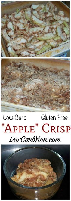 Apples are a forbidden fruit on the low carb diet, but this gluten free mock apple crisp using zucchini is a clever way to trick your taste buds when you crave apples. (Apple Recipes Gluten Free)