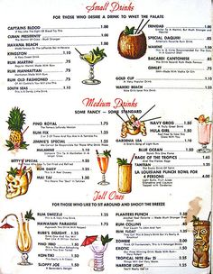 Arkiva Tropika - cocktail & dinner menu from Kon Tiki - Kansas City, Missouri Vintage Tiki, Vintage Menu, Tea House Menu, Drink Menu Design, Hawaiian Drinks, Rum Old Fashioned, Cocktail Menu, Cocktail Recipes, Cocktails