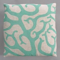 Coral Turquoise Pillow on Natural Linen - modern - bed pillows -  - by AllModern