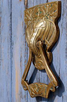 Antique Art Nouveau Door Knocker Geometric German Deco European Brass. $374.95, via Etsy.