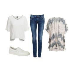 witte sneakers top jeans vest V&D