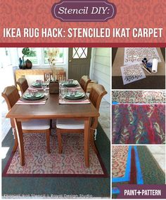 IKEA Rug Hack: Turn an inexpensive carpet into a custom Oriental rug with an Ikat stencil from Royal Design Studio