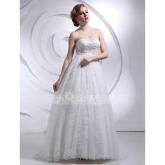 New Graceful A-line Strapless Sleeveless Chapel Train Wedding Dress $232.12