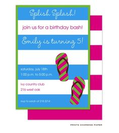 Splish Splash Party Invite: This stylish pool party invitation features bright turquoise blue and white stripes with a green border and pink and green flip flops. Hot pink and white stripes continue on the back as a wonderful detail.