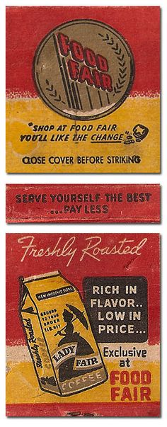 Vintage Matchbook Food Fair To design & order your advertising #matches GoTo GetMatches.com