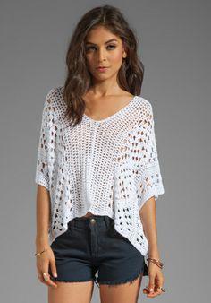 INDAH Mancora Crochet Pancho in White - Tops