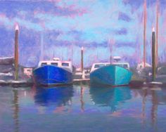 Day Off, Cape Cod Fishing Boats Painting by Poucher, painting by artist Nancy Poucher